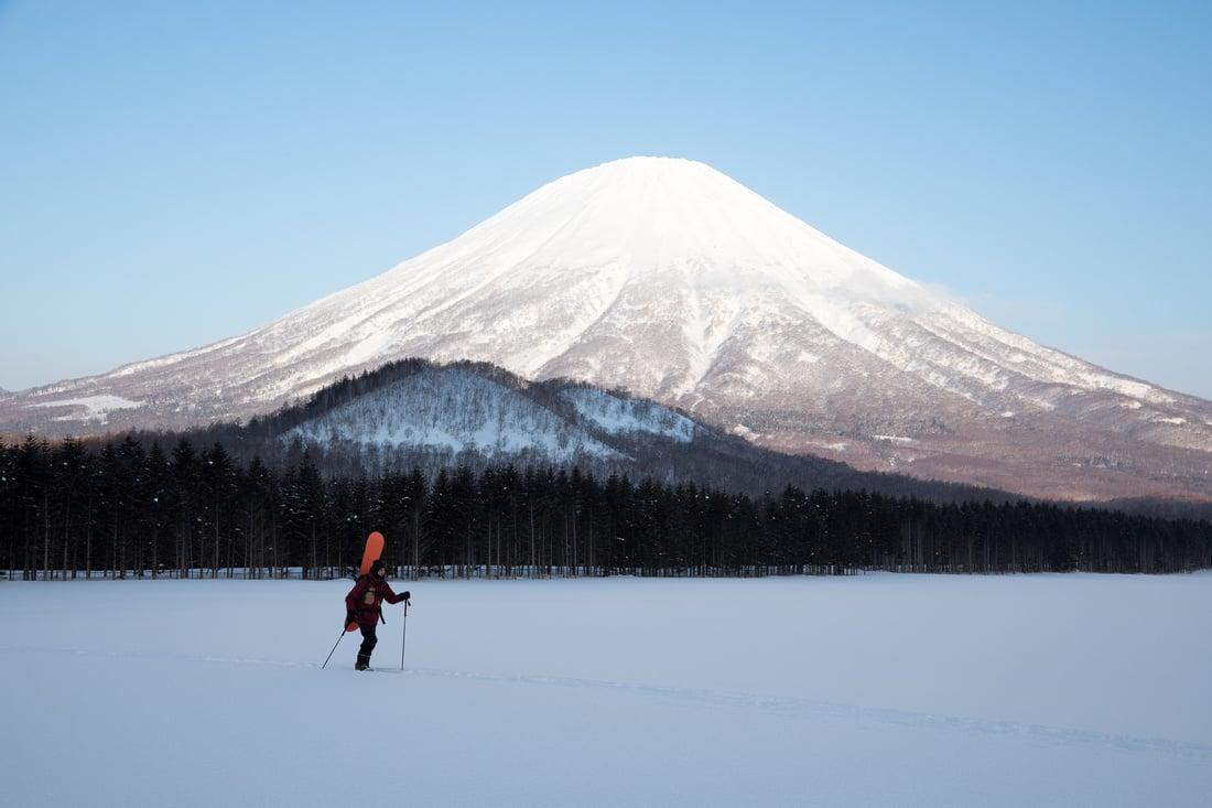 Mount Yotei, Japan with single skier